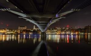 Millennium Bridge, long exposure, night time. London, coloured lights, bridge, Debbie Lias, photography