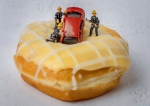small world, toy car, model fireman, doughnut, debbie lias, photography