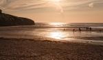 sunset, Porthcothan, cricket, sand, sea,