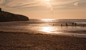 sunset, Porthcothan, cricket, sand, sea,