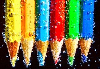 pencils, water, bubbles, debbie lias, photography