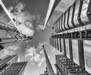 black and white, London, Lloyds building, architecture, Debbie Lias, Photography