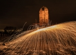 sparks, wire wool, windmill, night time, debbie lias, photography